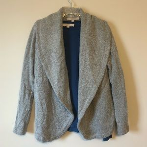 LOFT Light Grey Waterfall Drape Thick Cardigan XS